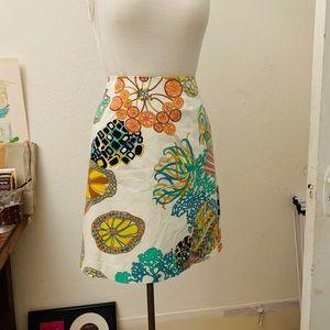 Trina Turk 60s Print A-Line Skirt Size S/M